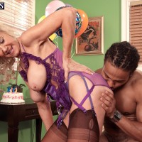 Stocking and lingerie garmented experienced golden-haired Summeran Winters having interracial sex