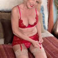Stocking clad blond MILF over Sixty Scarlet Andrews hooter fucking hefty rod