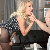 Stocking outfitted MILF over Sixty Erica Lauren flaunting stellar bootie and hefty older boobs