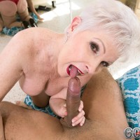 Stocking outfitted Sixty plus MILF Jewel loosing hefty boobs before providing immense prick a blowjob