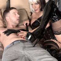 Stripper boot and latex adorned older XXX film starlet Sally D'Angelo jerking and tonguing immense wood
