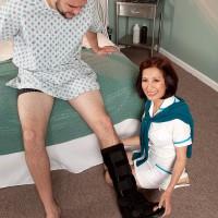 Uniformed Sixty plus Asian MILF nurse Kim Anh delivering huge sausage hj in hospital